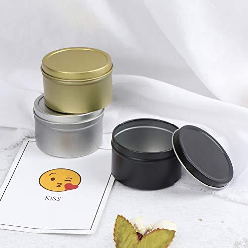 RUIYELE 3 cajas de metal vacías redondas de aluminio, doradas, plateadas y negras, con tapa de rosca, recipientes de metal para almacenamiento de velas de especias, té, accesorios de maquillaje