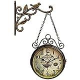 CHLDDHC Reloj de Pared Retro de Doble Cara, Reloj de Pared de Hierro silencioso sin tictac, Reloj de estación Giratorio de 360 °, para Sala de Estar en el jardín