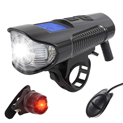 Brynnl Bike Light Set, Bicycle Light with Speedometer Odometer Horn Bike Tail Light Front Light Set LED Cycling Lights for Road & Mountain