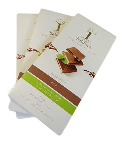 Stevia Schokolade LUXURY - Milch Schoko ohne Zuckerzusatz - 3 x 85 g