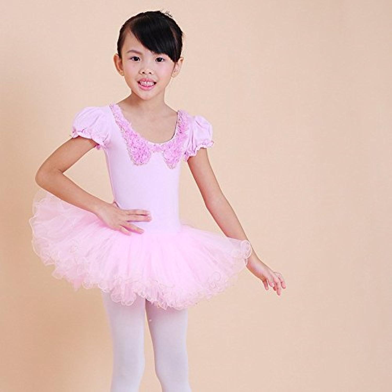 Bow Dance Dress Summer Princess New Fur Collar Bow Dance Dress Skirt, Pink, 160cm