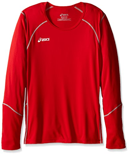 ASICS Jr. Volleycross Quick-Dry Long Sleeve Top, Red/Steel Grey, Large