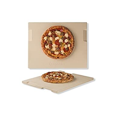 Pizza Stone 12  x 15  Rectangular Baking & Grilling Stone, Perfect for Oven, BBQ and Grill. Innovative Double - faced Built - in 4 Handles Design