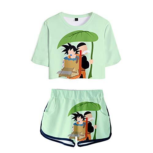 WOONN Pantalones Cortos y Mangas Cortas, Pantalones Cortos de Dragon Ball Anime, Trajes Deportivos, de Ocio, Pijamas