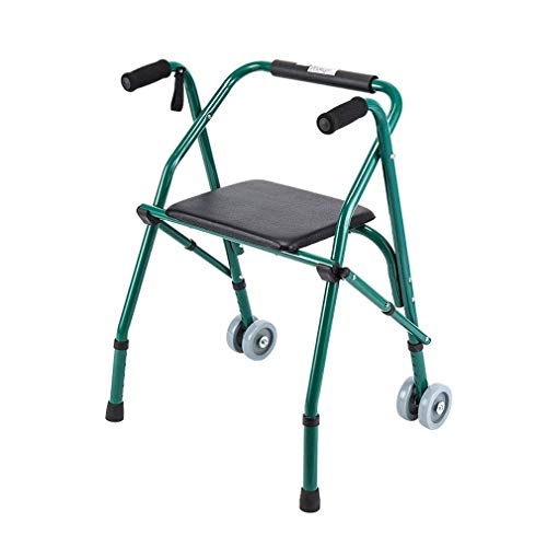 N / A Foldable Wheelchair Walking immer Frame with Padded Seat and 2 Wheels Crutch Rolling Transport Chairs for Elderly Disabled