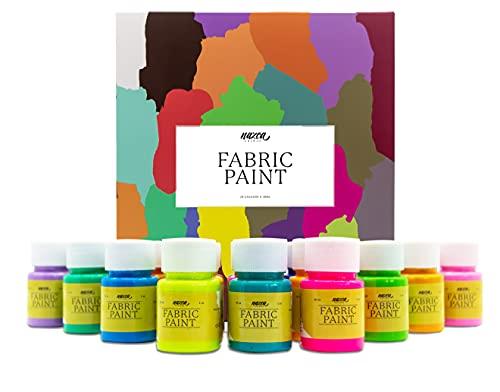 Pintura Para Tela Permanente Y Lavable Nazca Colors – 24 Colores X 30ml - Pack Pintura Acrílica Textil ideal para Pintar Ropa, Zapatillas, Vaqueros, Bolsas, Cuero y cualquier Tejido- Gran Cobertura