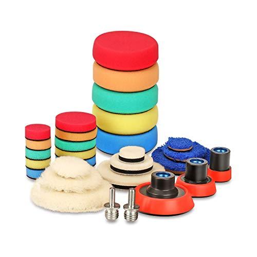 SPTA 29pcs Drill Buffing Pad Detail Polishing Pad Mix Size Kit with 5/8-11 Thread Backing pad & Adapters for Car Sanding, Polishing, Waxing, Sealing Glaze