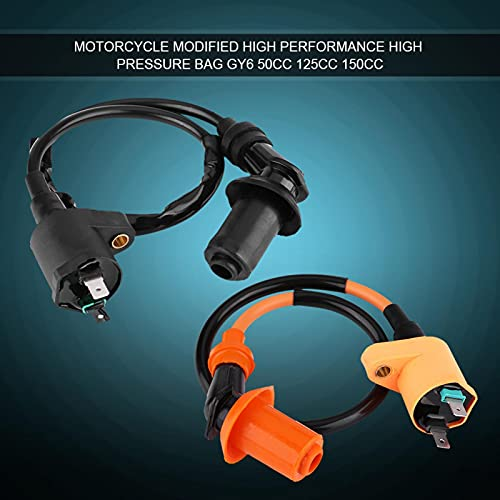 Bobina de encendido, bobina de encendido de ciclomotor de scooter de motocicleta de motor negro de 17,71 pulgadas para GY6 50CC 125CC 150CC(naranja)