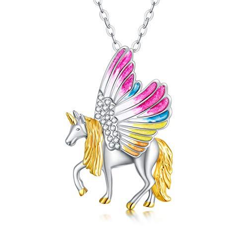 Regalos de unicornio para niñas, collar de unicornio de plata de ley, joyería de unicornio, regalo de cumpleaños para niñas, mujeres e hijas.
