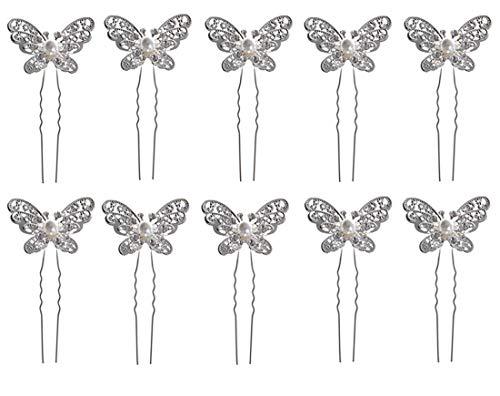 Dusenly Haarnadeln Schmetterling Perlen Kristall Haarspangen für Frauen Mädchen Braut Kopfbedeckung Haarschmuck 10 Stück