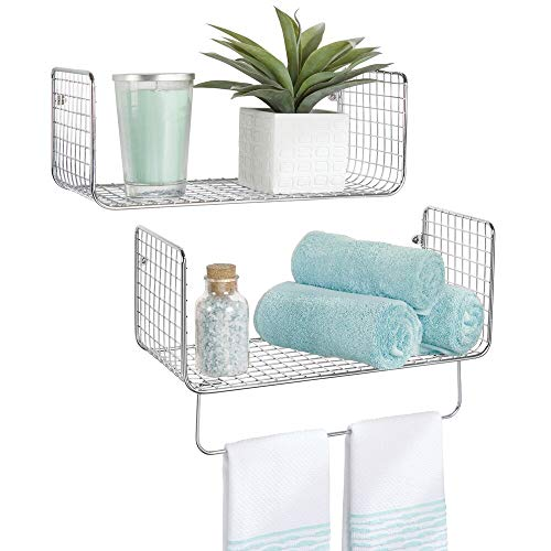 mDesign Juego de 2 estantes de pared – Versátiles estantes de metal para baño, garaje o lavadero – Cestas de rejilla con barra para toallas – plateado