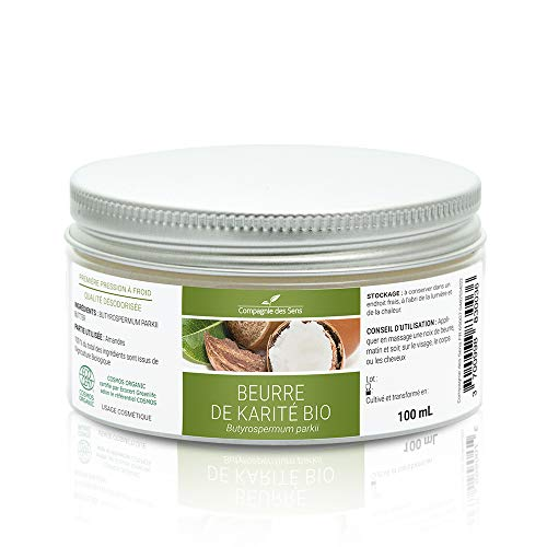 Beurre de KARITÉ BIO - 100mL - Garanti de première pression à froid et désodorisé - Certifié BIO par Ecocert - Hydratation peau, mains, cheveux - La Compagnie des Sens