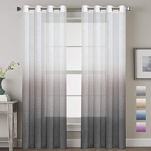 H.VERSAILTEX 52 - Inch Width by 84 - Inch Length Linen Mixed Curtains Semi Sheers for Living Room/Bedroom/Kids Room/Kitchen, Nickel Grommet Top Window Panels -Set of 2, Stone Blue