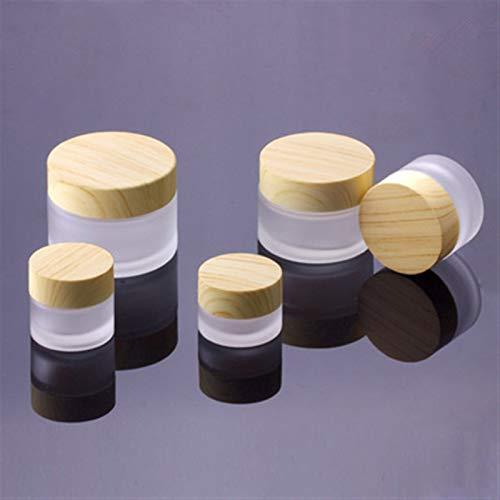 JSJJAUJ Botella de envase cosmético 5G 10G 15G 30G 50G Botella de Vidrio de Escarcha Plástico Tapa de bambú de plástico Tarro de Cristal Vacío Tarro de Crema de Crema Cosmética Envase de envasado