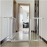 Puerta de Seguridad Barrera de Seguridad Blanca, Barrera de separación para Perros y Gatos, Ideal para perros o gatos, en escaleras en interiores y exteriores