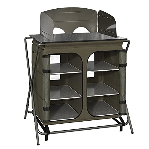 Outsunny Cucina da Campeggio, Tavolino da Campeggio o Picnic in Alluminio, Pieghevole e con Sacca da Viaggio, Verde, 94x57x109cm