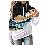 HJFR 2021 - Camiseta de manga larga para mujer, con capucha, para otoño e invierno, sudadera de mang...