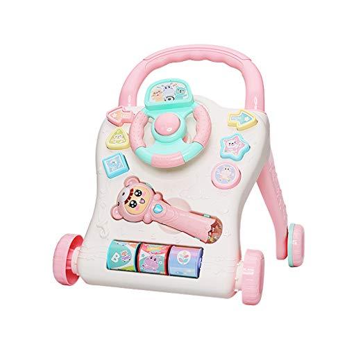 Trolley Trotteur Multi-Fonction Trotteur Anti-retournement pour bébé Apprendre à Marcher 6-18 Mois FANJIANI (Couleur : Rose)