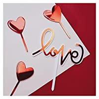 Alowa ケーキトッパー, 手書きの愛の結婚式のアクリルケーキのトッパーゴールドバレンタインデーケーキトッパー結婚式のバレンタインデーパーティーケーキの装飾 (Color : 4pcs)