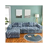 Juego de fundas de sofá de 1/2 piezas Funda de sofá geométrica Funda de sofá elástica para sala de estar Mascotas Esquina en forma de L Chaise Longue Funda de sofá color 14 funda de almohada-2 piezas