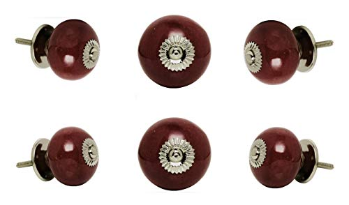 Set of 6 Big Ceramic Tomato Cabinet Drawer Knobs Plum Chrome Finish Nina Cupboard Pull Dresser Door Handle by Trinca-Ferro