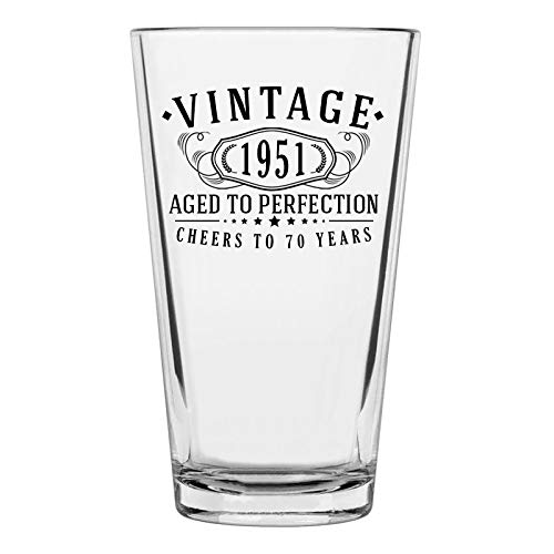 Vintage 1951 Printed 16oz Pint Glass, 70th Birthday Aged to Perfection, 70 years old gifts