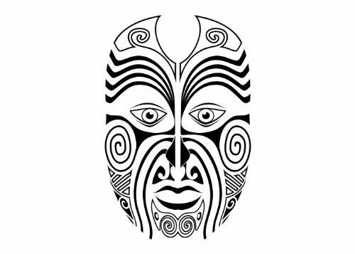 Wandtattooladen Wandtattoo - Maori - Maske 1 Größe:46x70cm Farbe: mint