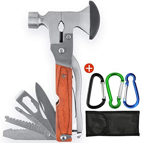 Survival Axt Hammer Multitool, Edelstahl Multifunktionswerkzeug 19 in 1 Multi Tool Hammer Axt mit Nylonhülle für Camping,Jagd, Überleben im Freien