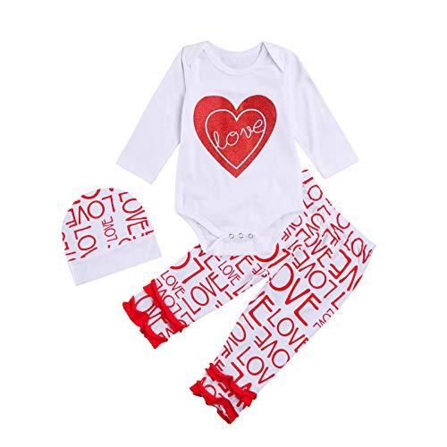 Carolilly - Conjunto de ropa infantil unisex de 3 piezas para San Valentín, pantalón y body de manga larga con corazón y corazón impreso Rouge Love 12-18 meses