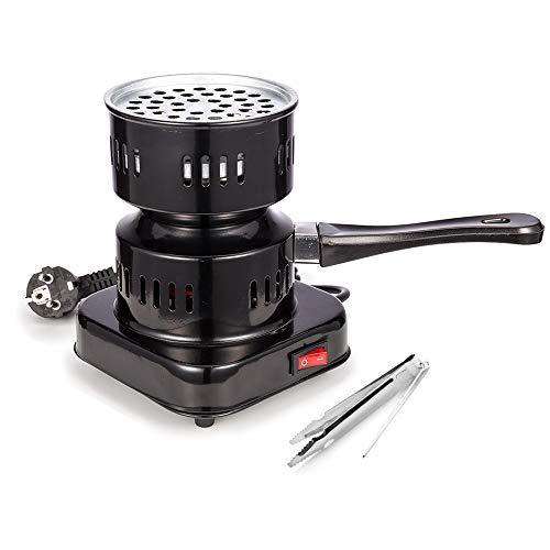RMAN® Elektrischer Shisha Kohleanzünder für Shisha Kohle-Brenner Elektrisch Kohlegrill mit Tragegriff Kohlezange Wasserpfeife Heizplatte 450W Schwarz
