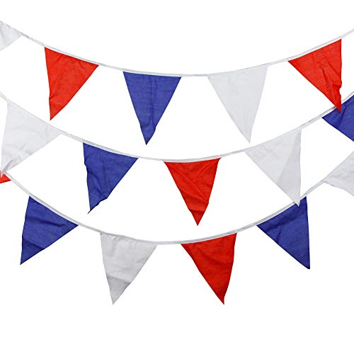 Fanville VE DAY Bunting Rood Wit Blauw Driehoekig 7m 25 Vlaggen Decoratie 8TH MEI 75e Decoratie