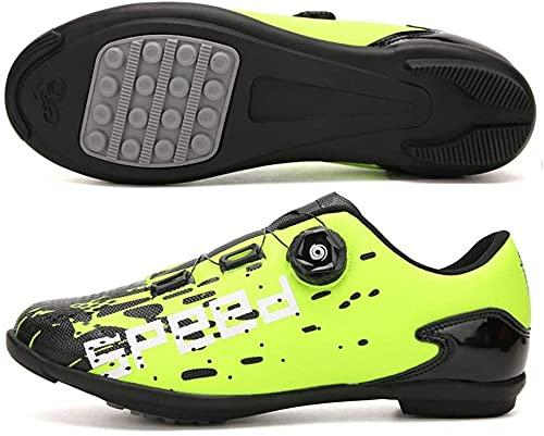 KUXUAN Calzado de Ciclismo para Hombre,Suelas de Carreras de Carretera Zapatillas de Ciclismo de Montaña Ciclismo Deporte Zapatillas de Ciclismo MTB Atléticas Transpirables,Green-EU47