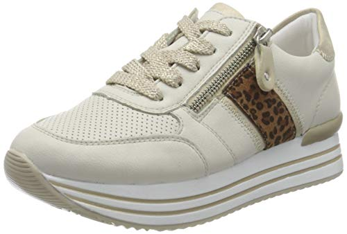 Remonte Damen D1310 Sneaker, Offwhite/Muschel/Leo-nuss / 80,38 EU Weit