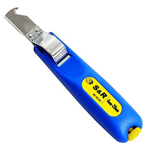S&R Coltello Spelafili cavi 4-28mm Professionale. Forbice elettricista con impugnatura ergonomica e Coltello Tagliente. Made in Germany