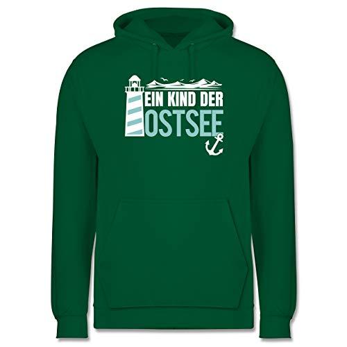 Shirtracer Statement - EIN Kind der Ostsee blau/weiß - M - Grün - Leuchtturm - JH001 - Herren Hoodie und Kapuzenpullover für Männer
