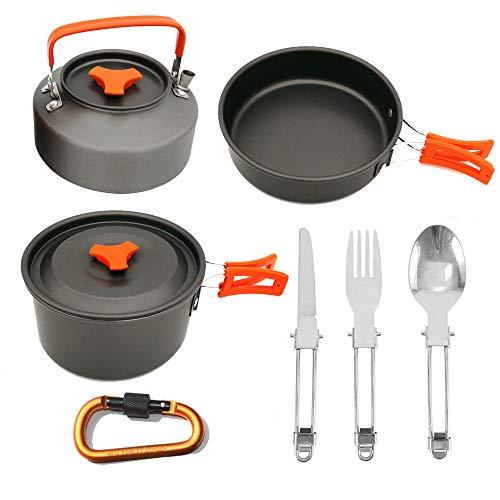 BOFEISI Kit de Camping Utensilios de Cocina con hervidor de Agua, al Aire Libre Senderismo ollas Aluminio Antiadherente…