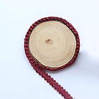 QUNLIPAI レース生地リボン、ギピュールスパンコールレース素材縫製トリミング衣類装飾,red,12M