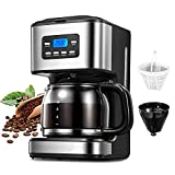 ZRSDIXKI 1.8L Filter Coffee Machine, 950W Coffee Maker 12 Cup Programmable Coffee Maker Machine with 24hr Timer, Anti-Drip Function, Carafe, Boil-Dry Protection, Automatic Turn-Off
