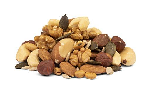 Bio Nuts and Seeds Nüsse und Samen Mix 1kg – Paranüsse, Mandeln, Walnüsse, Cashew Nüsse, Haselnüsse, Kürbiskerne, Sonnenblumenkerne, roh ungeröstet mit knusprigen Knabber Sojabohnen 1000g