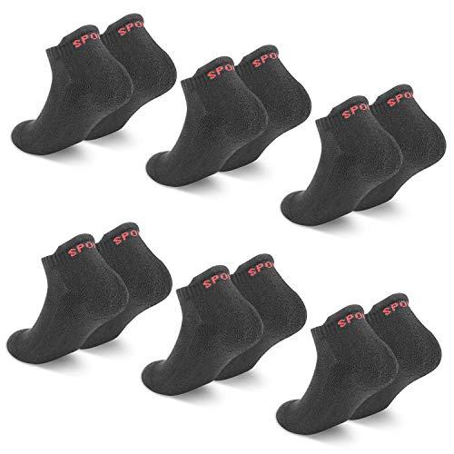 QINCAO Calcetines Tobilleros Hombre y Mujer 6 Pares Calcetín Deporte de Algodón Anti-ampollas Acolchados Calcetines Cortos 6 x Negro 43-46