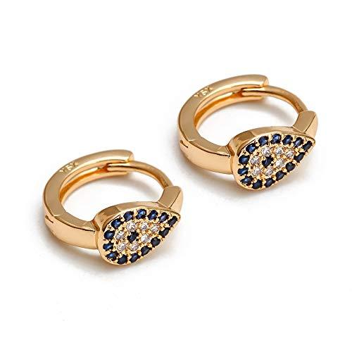 Pendientes de aro de Color dorado Cobre Micro Pave Fatima Hamsa Pendientes de mano Evil Eye joyería de moda para mujeres y niñas