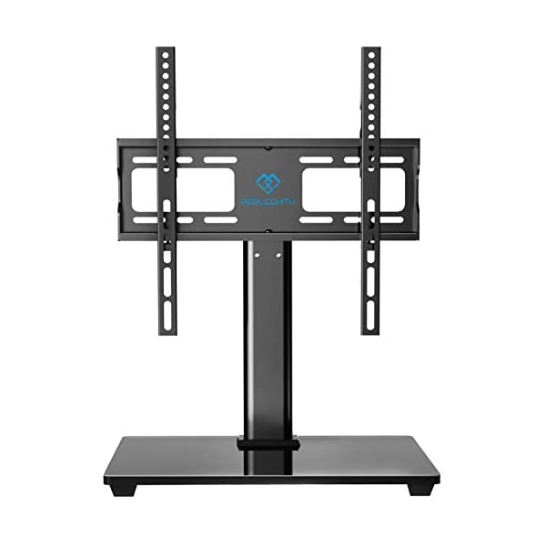PERLESMITH Swivel Universal TV Stand / Base – Table Top TV Stand for 32-55 inch LCD LED TVs – Height Adjustable TV Mount Stand with Tempered Glass Base, VESA 400x400mm, Holds up to 88lbs