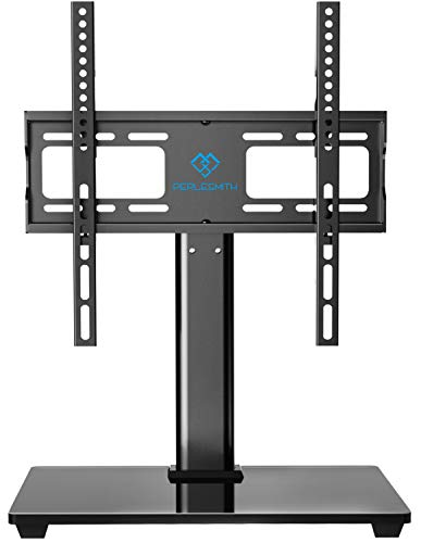 PERLESMITH Swivel Universal TV Stand / Base - Table Top TV Stand for 32-55 inch LCD LED TVs - Height Adjustable TV Mount Stand with Tempered Glass Base, VESA 400x400mm, Holds up to 88lbs