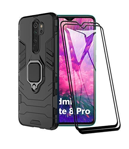 XIFAN Custodia per Xiaomi Redmi Note 8 PRO Nuovo [Robusto] Tattico Anello Metallico Cavalletto [Funziona con Il Supporto Magnetico per Auto] Case Paraurti, Nero + 2 Pack Pellicola Protettiva