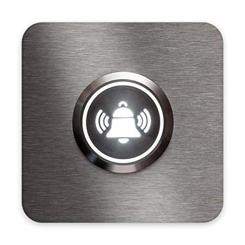 Metzler Türklingel-Schild Edelstahl - LED-beleuchtet - Glocken-Symbol - quadratisch & modern - Geschenk-Idee - Unterputz-Montage