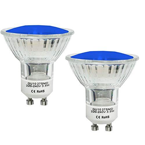 JQslight Gu10 LED Blau Lampe, 4W MR11 LED Farbige Deckenfluter Birnen Leuchtmittel, Ersetzt 120° Abstrahwinkel 20W GU10 Halogenlampe für Supermarket, Hotel, Bar, Tanzhalle (2 Packungen)