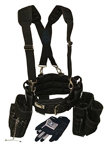 Gatorback Electricians Combo Deluxe Package (Ventilated Back Support Tool Belt Combo, Suspenders, Drill Holster, Gloves). Medium 31'-35'