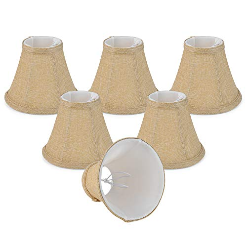Wellmet Small Lamp Shade,ONLY for Candle Bulbs,Clip-on Drum Lamp Shades,Set of 6, 3x6x5 Inches