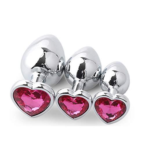 Metal B-ütt Ānāl-Plúg Cristal de Diamante en Forma de corazón para Mujeres Hombres Pareja Juguetes de relajación (Rosa roja)