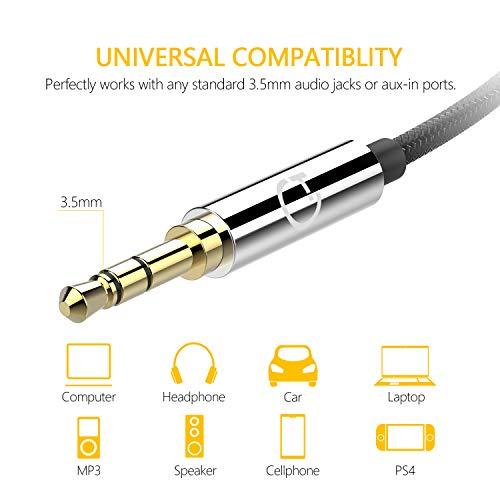 Gritin Cable de Audio, Cable Jack 3.5mm y Macho Macho de Nylon Trenzado Premium Cable Aux Auxiliar para Auriculares, iPods, iPhones, iPads, Audio de Coche, Smartphones, MP3 y Más - Negro(1.5M)